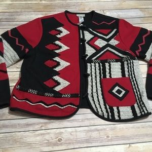 VTG Coldwater Creek Wool Blend Patterned Cardigan